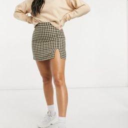 ASOS DESIGN mini skirt with notch hem in checkered print | ASOS (Global)