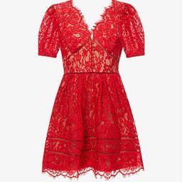 Puff-sleeved scalloped-trim lace mini dress | Selfridges
