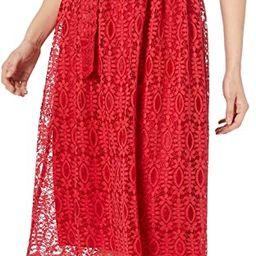 NINE WEST Women's Short Sleeve Lace Fit and Flare Midi Dress W/Self Sash | Amazon (US)