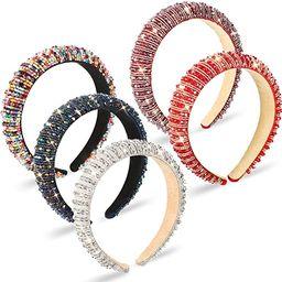 5 Pieces Rhinestone Padded Headband Crystal Beaded Glitter Hairband Wide Edge Bejewelled Headwear... | Amazon (US)