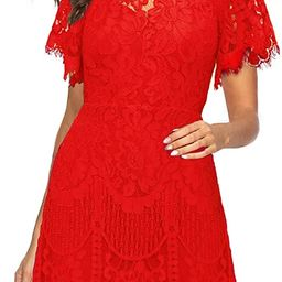 MSLG Women's Elegant Round Neck Short Sleeves V-Back Floral Lace Cocktail Party A Line Dress 910 | Amazon (US)
