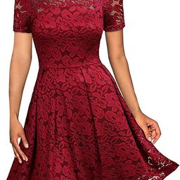 MISSMAY Women's Vintage Floral Lace Short Sleeve Boat Neck Cocktail Party Swing Dress | Amazon (US)