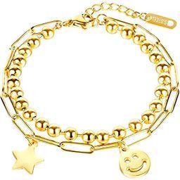 JOJOPANDA Layered Chain Bracelet for Women 14K Gold Plated Link Bracelet with Dangling Charm of S... | Amazon (US)