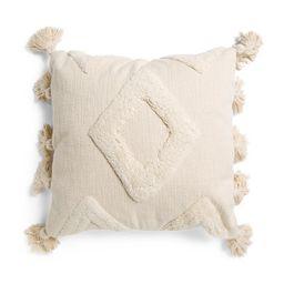 20x20 Diamond Textured Pillow With Tassels   Marshalls