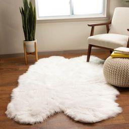 Super Area Rugs Serene Silky Faux Fur Fluffy Shag Rug Snow White 4' x 6' Sheepskin   The Home Depot
