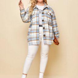 SHEIN Plus Flap Pocket Drop Shoulder Tartan Overcoat | SHEIN