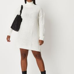 Plus Size White Roll Neck Sweater Dress | Missguided (US & CA)