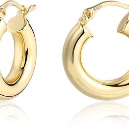 Lightweight Chunky Hoops   14K Gold Plated Small Thick Hoop Earrings for Women   Amazon (US)