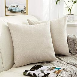 MERNETTE Pack of 2, Thick Chenille Decorative Square Throw Pillow Cover Cushion Covers Pillowcase... | Amazon (US)