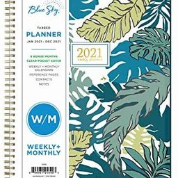"""Blue Sky 2021 Weekly & Monthly Planner, Flexible Cover, Twin-Wire Binding, 8.5"""" x 11"""", Grenada (1... 
