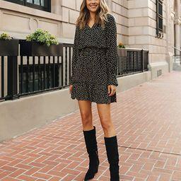 Women's Black/Tan Polka-dot Tiered V-neck Mini Dress by @fashion_jackson | Amazon (US)