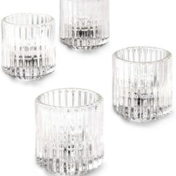 Serene Spaces Living Set of 4 Clear Ribbed Glass Votive Holders, Perfect for Weddings and Home D...   Amazon (US)