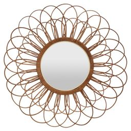 THREE HANDS Bamboo Mirror in Brown Natural Fiber 24in L x 1in W x 24in H | The Home Depot