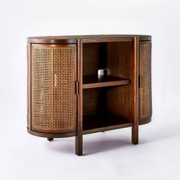 Portola Hills Caned Door Console with Shelves Walnut - Threshold | Target