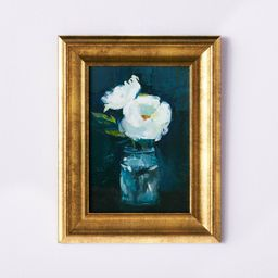 """11"""" x 14"""" Floral Arrangement Framed Wall Canvas Gold/Navy - Threshold™ designed with Studio McGee 
