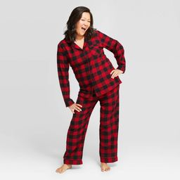 Women's Holiday Buffalo Check Flannel Matching Family Pajama Set - Wondershop Red M | Target