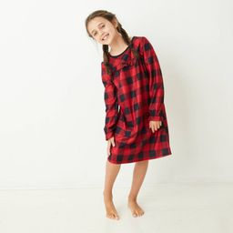 Kids' Holiday Buffalo Check Flannel Matching Family Pajamas Nightgown - Wondershop Red 8 | Target