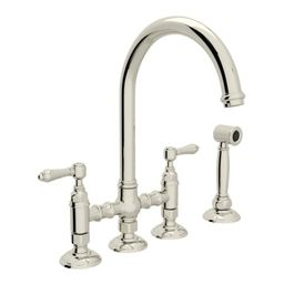 Italian Kitchen San Julio 1.8 GPM Bridge Faucet with Two Lever Metal Handles - Includes Sidespray | Build.com, Inc.