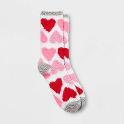 Women's Cozy Big Hearts Valentine's Day Crew Socks - Heather Gray 4-10 | Target