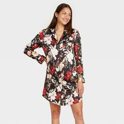 Women's Floral Print Satin Notch Collar Nightgown - Stars Above™ Black | Target