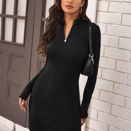 SHEIN Zip Half Placket Rib-knit Dress | SHEIN