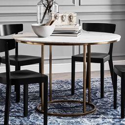 """Delaney Round Marble Pedestal Dining Table, Brass, 44"""" D 