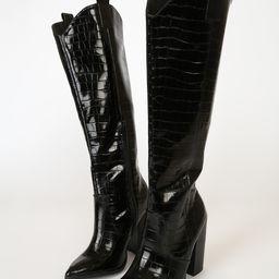 Vanya Black Exotic Crocodile Embossed Knee High Boots | Lulus (US)