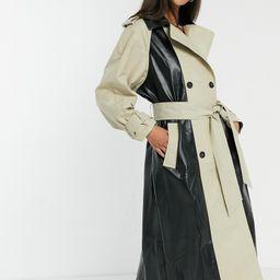 ASOS DESIGN spliced vinyl trench coat in stone and black-Beige | ASOS (Global)