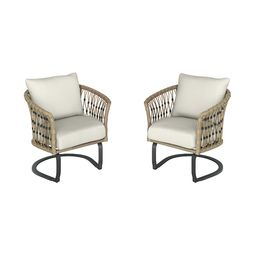 Style SelectionsAvery Station Set of 2 Dark Brown Woven Metal Conversation Chair(s) with Off Wh... | Lowe's