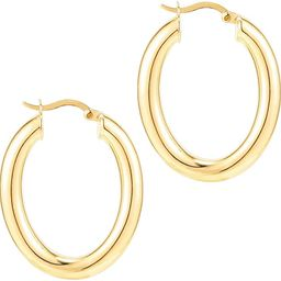 PAVOI 14K Gold Plated Sterling Silver Post Monet Oval Chunky Lightweight Hoop Earrings for Women | Amazon (US)