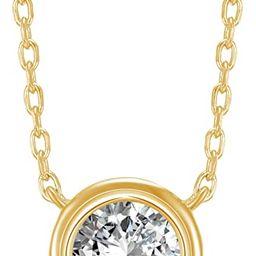 PAVOI 14K Gold Plated 1.00 ct (D Color, VVS Clarity) CZ Simulated Diamond Bezel-Set Solitaire Cho...   Amazon (US)
