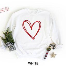 Valentines Day Sweatshirt, Heart Sweatshirt, Valentines Day Sweater For Women, Teachers Valentine...   Etsy (US)