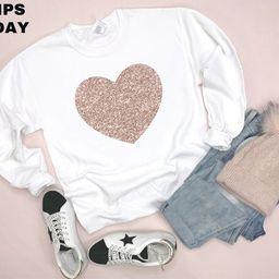 Valentines shirt - Rose Gold Glitter Heart Sweatshirt - Valentines Sweatshirt - Womens Valentines...   Etsy (US)