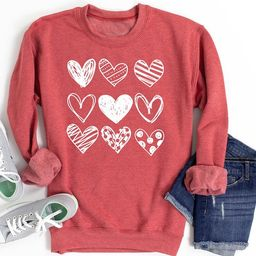 Womens Sketched Stacked HEARTS Valentines Day Sweater Valentines Day Sweater Sweatshirt oversized...   Etsy (US)