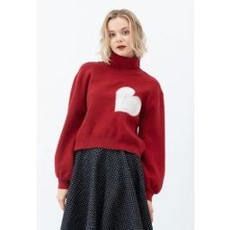Embroidered Heart High Neck Knit Sweater in Red   Chicwish