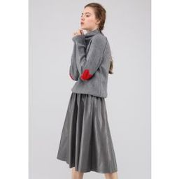 Heart and Soul Patched Knit Sweater in Grey   Chicwish