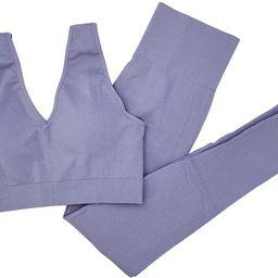 Women 2 PCS Workout Set Seamless Super Soft Material Deep V Neck Bra+Leggings Sports Suit Yoga Ou...   Amazon (US)