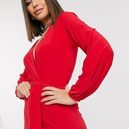 Club L slinky wrap dress with plunge front in red | ASOS (Global)
