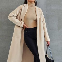 Notched Collar Pocket Side Overcoat | SHEIN