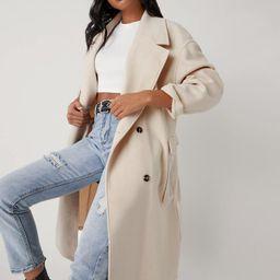 SHEIN Notch Collar Flap Detail Split Hem Overcoat | SHEIN