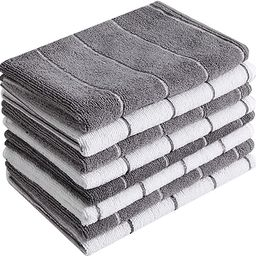 Microfiber Kitchen Towels - Super Absorbent, Soft and Solid Color Dish Towels, 8 Pack (Stripe Des... | Amazon (US)