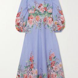 Light blue Bellitude floral-print linen maxi dress | Zimmermann | NET-A-PORTER | Net-a-Porter (US)