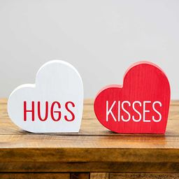 New!Hugs and Kisses Valentine Table Hearts, Set of 2   Kirkland's Home
