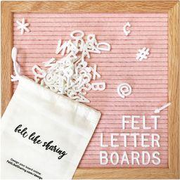 Pink Felt Letter Board with Letters (10x10 Inch) Sturdy Oak-Framed Felt Board with White Letter B... | Walmart (US)