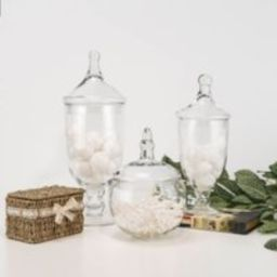 Glass Apothecary Jar Set Of 3 Candy Buffet With Lids Decorative Wedding Centerpiece, Bathroom Organi   Etsy (US)