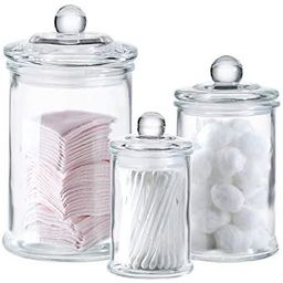 Mini Glass Apothecary Jars-Cotton Jar-Bathroom Storage Organizer Canisters Set of 3   Amazon (US)