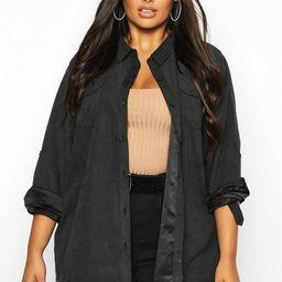 Plus Suedette Pocket Detail Oversized Shirt | Boohoo.com (US & CA)