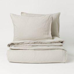 Washed Linen Duvet Cover Set   H&M (US)