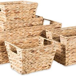 DII Natural Water Hyacinth Storage Basket with Handles, Beige | Amazon (US)