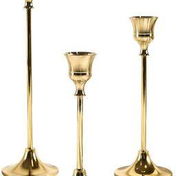 VINCIGANT 3Pcs Brass Gold Taper Candle Holders, Vintage Decorative Candlestick Holders, Metal Din...   Amazon (CA)